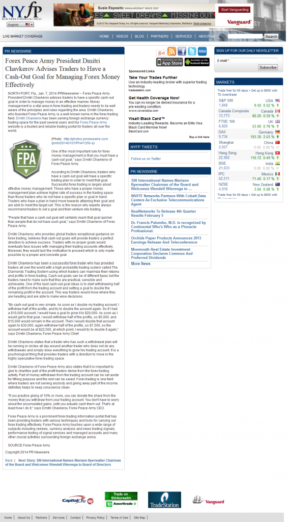 Forex Peace Army - Cash Out Goal Story in New York Financial Press