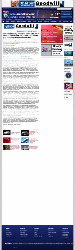 Money Management with Goal KAUZ-TV CBS-6 (Wichita Falls, TX)by Forex Peace Army