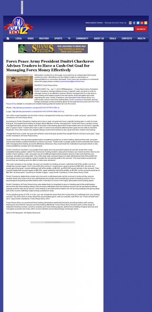 Money Management with Goal KSLA CBS-12 (Shreveport, LA)by Forex Peace Army