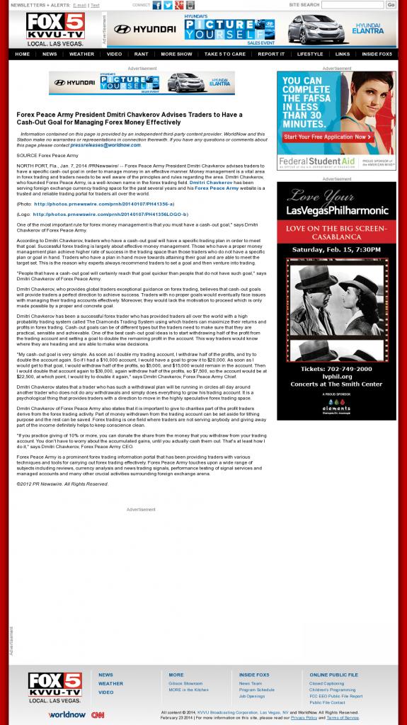 Money Management with Goal KVVU-TV FOX-5 (Las Vegas, NV)by Forex Peace Army