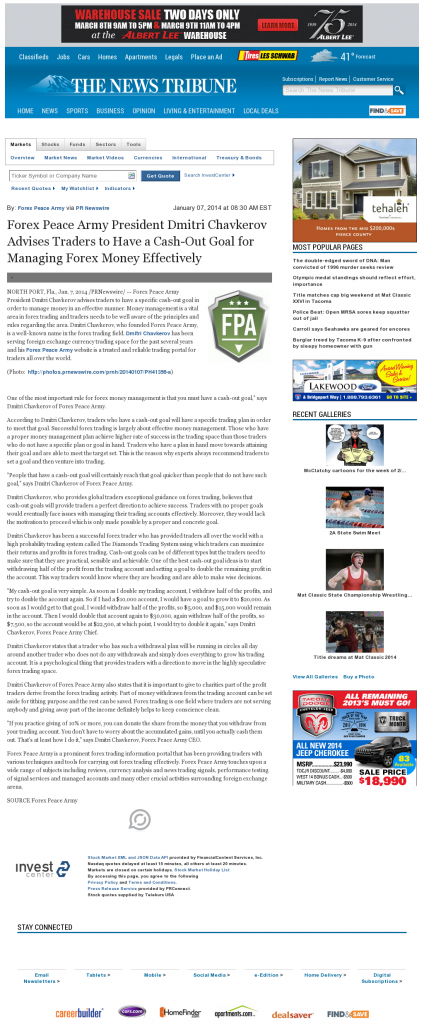 Money Management with Goal News Tribune (Tacoma, WA)by Forex Peace Army