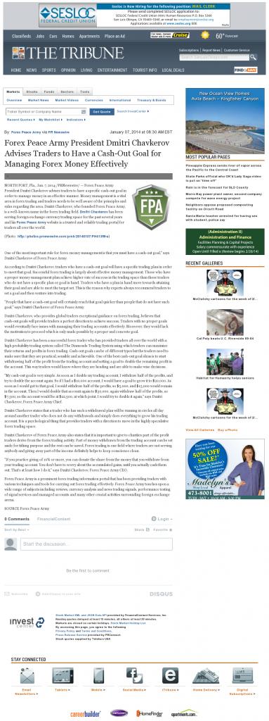 Money Management with Goal Tribune (San Luis Obispo, CA)by Forex Peace Army