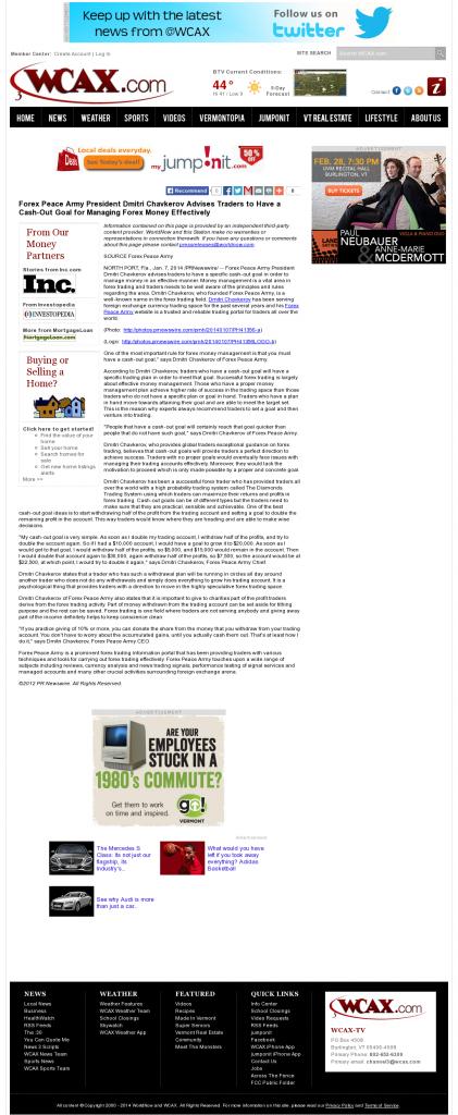 Money Management with Goal WCAX CBS-3 (Burlington, VT)by Forex Peace Army