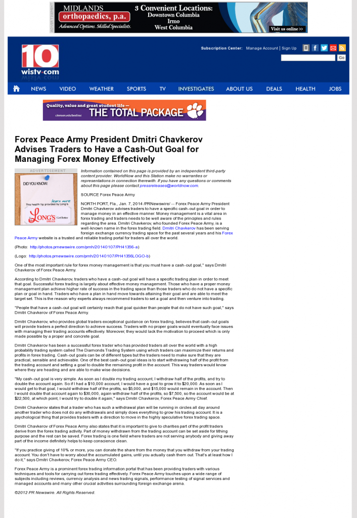 Money Management with Goal WISTV NBC-10 (Columbia, SC)by Forex Peace Army