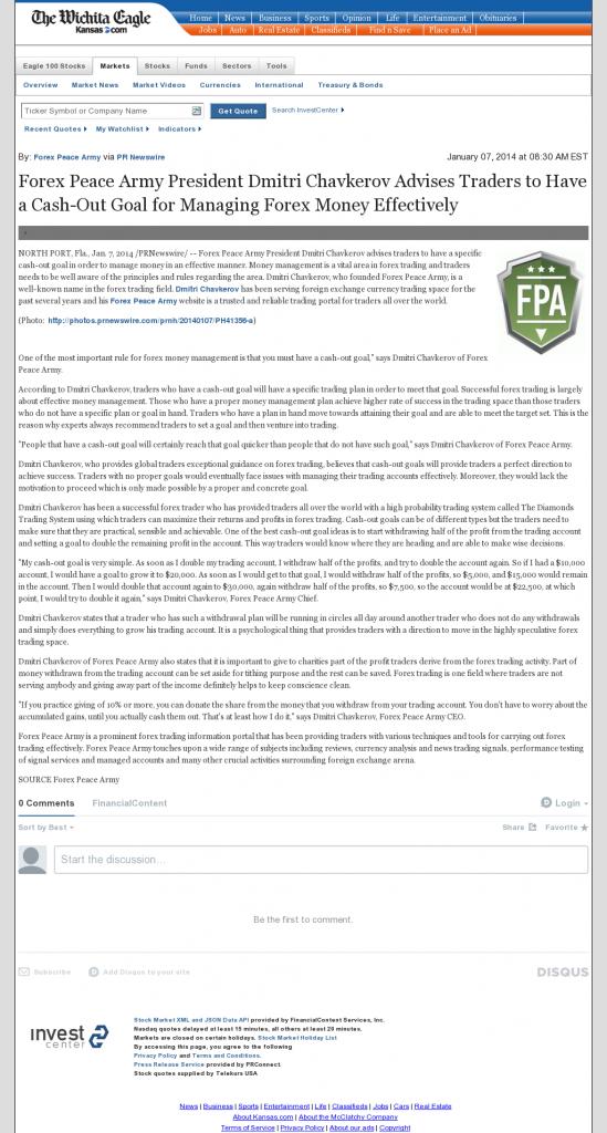 Money Management with Goal Wichita Eagle (Wichita, KS)by Forex Peace Army