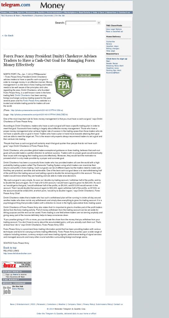 Money Management with Goal Worcester Telegram & Gazetteby Forex Peace Army